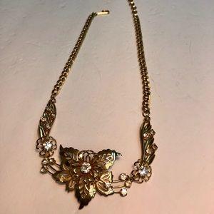 Vintage rhinestone flower gold chain necklace